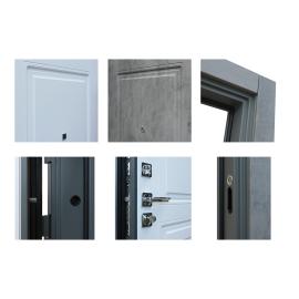 Входная металлическая дверь Сенатор Престиж Темный бетон | Белый матовый