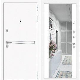 Входная металлическая дверь Сенатор Самальта Белый софт с ударопрочным зеркалом
