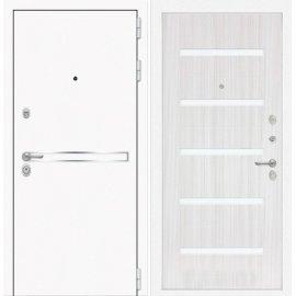 Входная металлическая дверь Сенатор Самальта ФЛ-1 Сандал белый. белое стекло