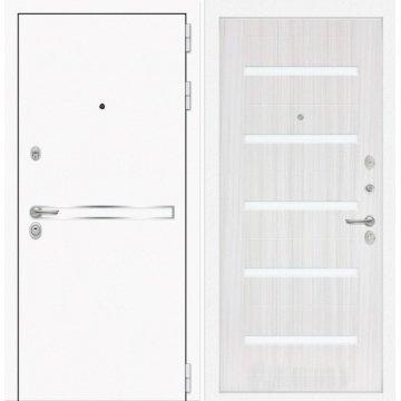 Входная дверь Самальта ФЛ-1 Сандал белый. белое стекло