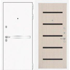 Входная металлическая дверь Сенатор Самальта ФЛ-1 Беленый дуб. черное стекло