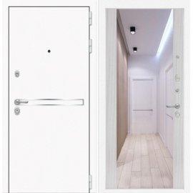 Входная металлическая дверь Сенатор Самальта Сандал белый с ударопрочным зеркалом