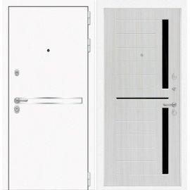 Входная металлическая дверь Сенатор Самальта ФЛ-2 Сандал белый. черное стекло