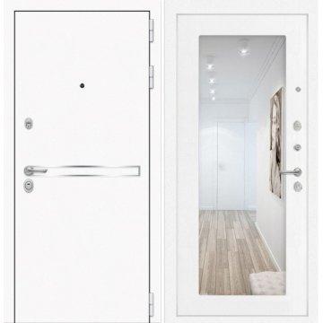 Входная дверь Самальта ФЛ-18 Белое дерево с ударопрочным зеркалом