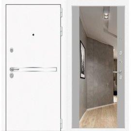 Входная металлическая дверь Сенатор Самальта Грей софт с ударопрочным зеркалом