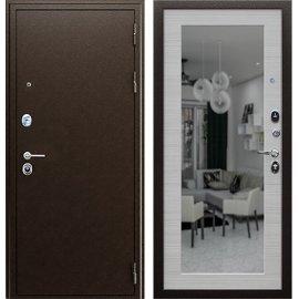 Входная металлическая дверь Сенатор Престиж Акация светлая с зеркалом