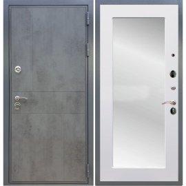 Входная металлическая дверь Сенатор Ультиматум Пастораль Белый силк сноу с зеркалом