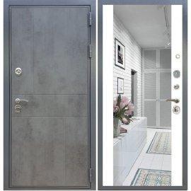 Входная металлическая дверь Сенатор Ультиматум СБ-16 Белый силк сноу с зеркалом