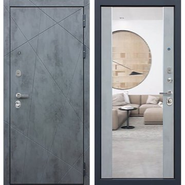 Входная дверь Престиж 3к Бетон светлый с ударопрочным зеркалом