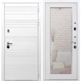 Входная металлическая дверь Сенатор Классика Пастораль с зеркалом Белый ясень