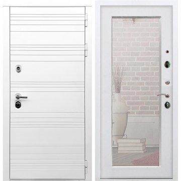 Входная дверь Классика Пастораль с зеркалом Белый ясень