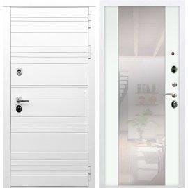 Входная металлическая дверь Сенатор Классика СБ-16 с зеркалом Белый ясень