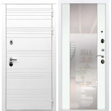 Входная дверь Классика СБ-16 с зеркалом Белый ясень