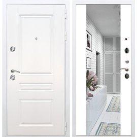 Входная металлическая дверь Сенатор Император 3к СБ-16 Белый силк сноу с Зеркалом