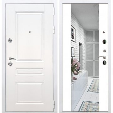 Входная дверь Император 3к СБ-16 Белый силк сноу с Зеркалом