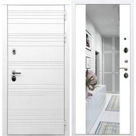 Входная металлическая дверь Сенатор Классика СБ-16 с зеркалом Белый силк сноу