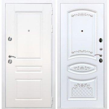 Входная белая дверь Император 3к ФЛ-317 Белый патина Серебро