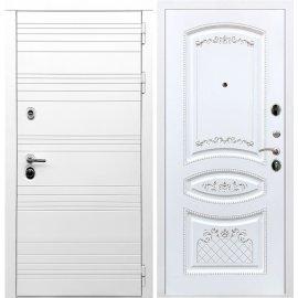 Входная металлическая дверь Сенатор Классика ФЛ-317 Белый силк сноу Патина Серебро