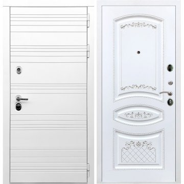 Входная дверь Классика ФЛ-317 Белый силк сноу Патина Серебро