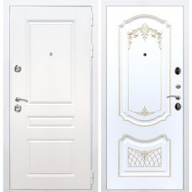 Входная металлическая дверь Сенатор Император 3к ФЛ-317 Белый патина Золото