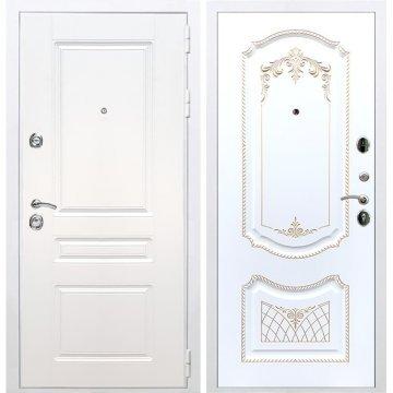 Входная белая дверь Император 3к ФЛ-317 Белый патина Золото