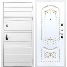 Входная металлическая дверь Сенатор Классика ФЛ-317 Белый силк сноу Патина Золото