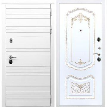 Входная дверь Классика ФЛ-317 Белый силк сноу Патина Золото
