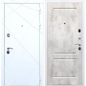 Олимпия - 13 ФЛ-117 Бетон светлый входная белая дверь