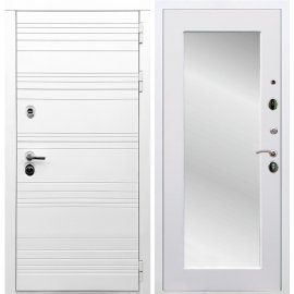 Входная металлическая дверь Сенатор Классика Пастораль с зеркалом Белый силк сноу