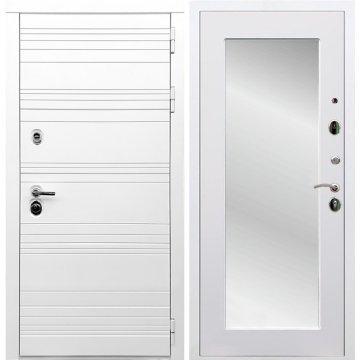 Входная дверь Классика Пастораль с зеркалом Белый силк сноу