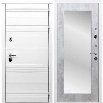 Входная дверь Классика Пастораль с зеркалом Бетон светлый