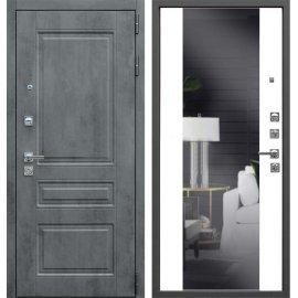 Входная металлическая дверь Сенатор Престиж Темный бетон | Белый матовый с зеркалом