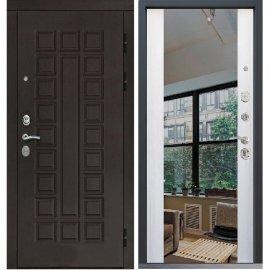 Входная дверь Сенатор с замком CISA 57.966 с ударопрочным Зеркалом СБ-16 Белый ясень