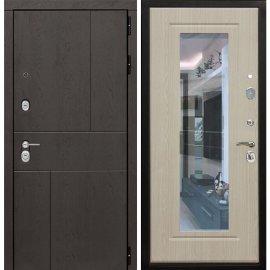 Входная металлическая дверь Сенатор Ультиматум ФЛ-120 Беленый дуб с зеркалом