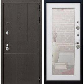 Входная металлическая дверь Сенатор Ультиматум СБ-122 Белый ясень с зеркалом
