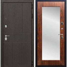 Входная металлическая дверь Сенатор Ультиматум СБ-122 Береза мореная с зеркалом