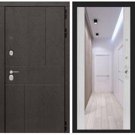 Входная металлическая дверь Сенатор Ультиматум ФЛ-16 с зеркалом Сандал белый