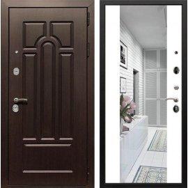 Входная дверь Сенатор Аллегро с Зеркалом СБ-16 Белый силк сноу