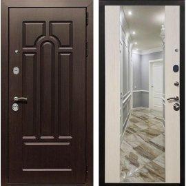 Входная дверь Сенатор Аллегро с Зеркалом СБ-16 Лиственница беж