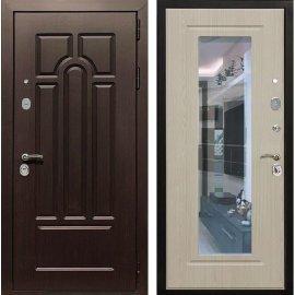Входная дверь Сенатор Аллегро с Зеркалом Дуб белёный