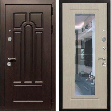 Входная стальная дверь Сенатор Аллегро с Зеркалом Дуб белёный