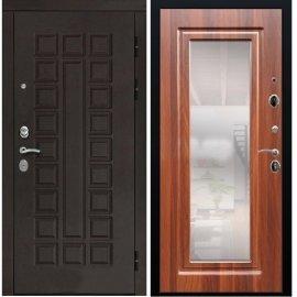 Входная дверь Сенатор с замком CISA 57.966 с ударопрочным Зеркалом Берёза морёная