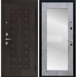 Входная дверь Сенатор с замком CISA 57.966 с ударопрочным Зеркалом Бетон светлый