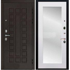 Входная дверь Сенатор с замком CISA 57.966 с ударопрочным Зеркалом Белый силк сноу
