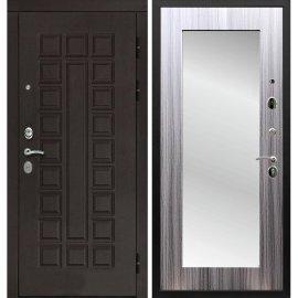 Входная дверь Сенатор с замком CISA 57.966 с ударопрочным Зеркалом Сандал серый