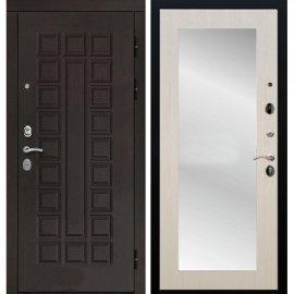 Входная дверь Сенатор с замком CISA 57.966 с ударопрочным Зеркалом Лиственница беж