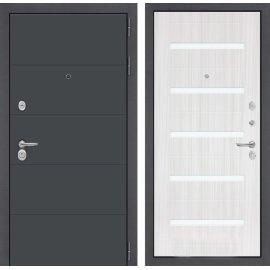 Входная стальная дверь Сенатор ART цвет 01 Сандал белый, стекло белое