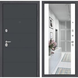 Входная стальная дверь Сенатор ART цвет Белый софт с ударопрочным зеркалом