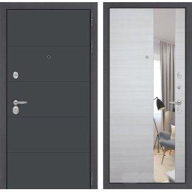 Входная стальная дверь Сенатор АРТ цвет Акация светлая горизонтальная с ударопрочным зеркалом