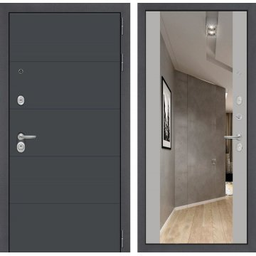 Входная стальная дверь Сенатор ART цвет Софт грей с ударопрочным зеркалом